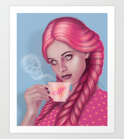 My Blood Type Is Coffee Artprint By Wendy Stephens