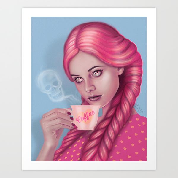 My Blood Type is Coffee Artprint by Wendy Stephens