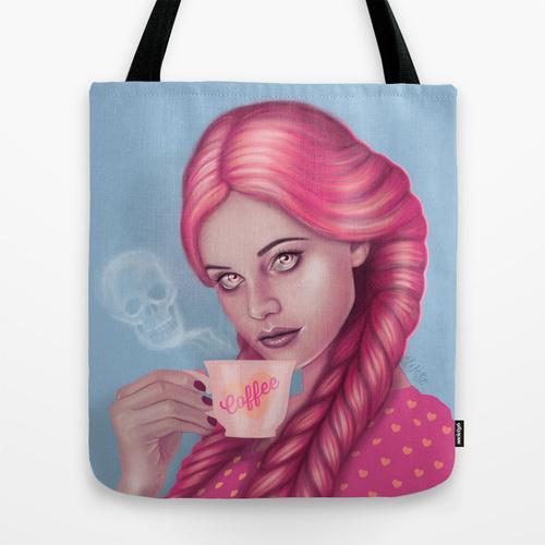 My Blood Type is Coffee Tote Bag by Wendy Stephens